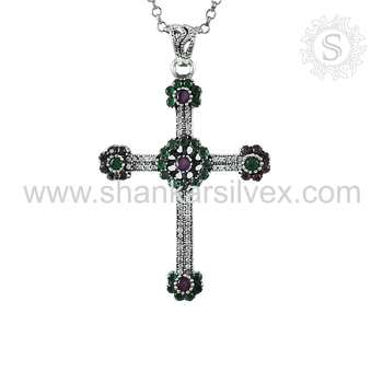 Jesus cross multi gemstone pendant handmade 925 sterling silver jewelry pendants wholesaler