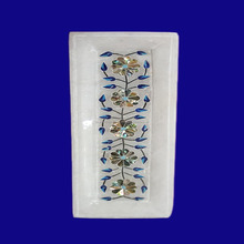 White Marble Taj Mahal tray tile with Marble