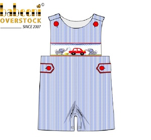 Elephant with car boy smocked romper clothing for spring summer