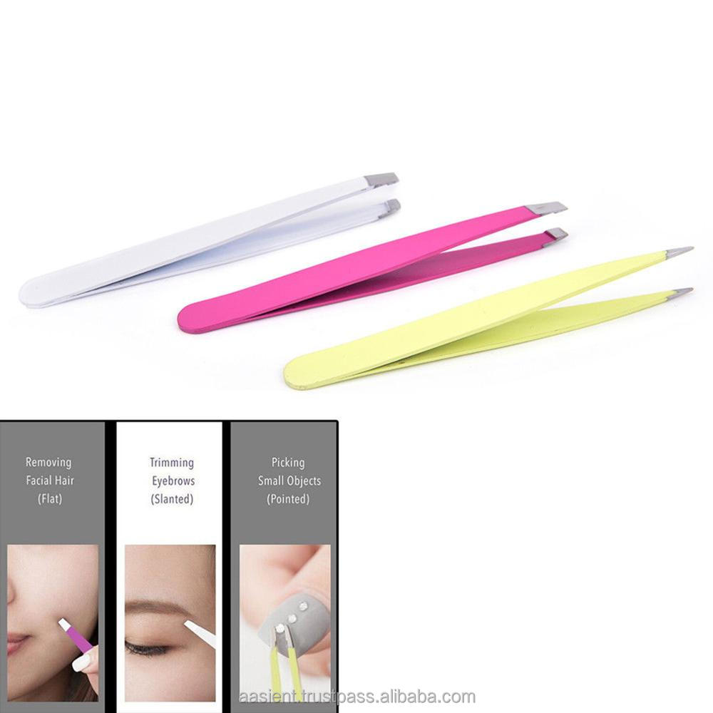 Pro Pink Eyebrow Tools For Women Lady 1pcs Eye Brow Tweezers Hair Removal Stainless Steel Beauty