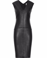 Autumn Fashion Long Sleeve Faux Leather Body con Mid Faux Dress For Women
