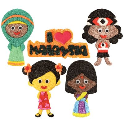 Merdeka Girl Magnet Pack of 5 - DIY Magnet Craft Painting Kit - Kids Craft Educational Toys - Wooden MDF