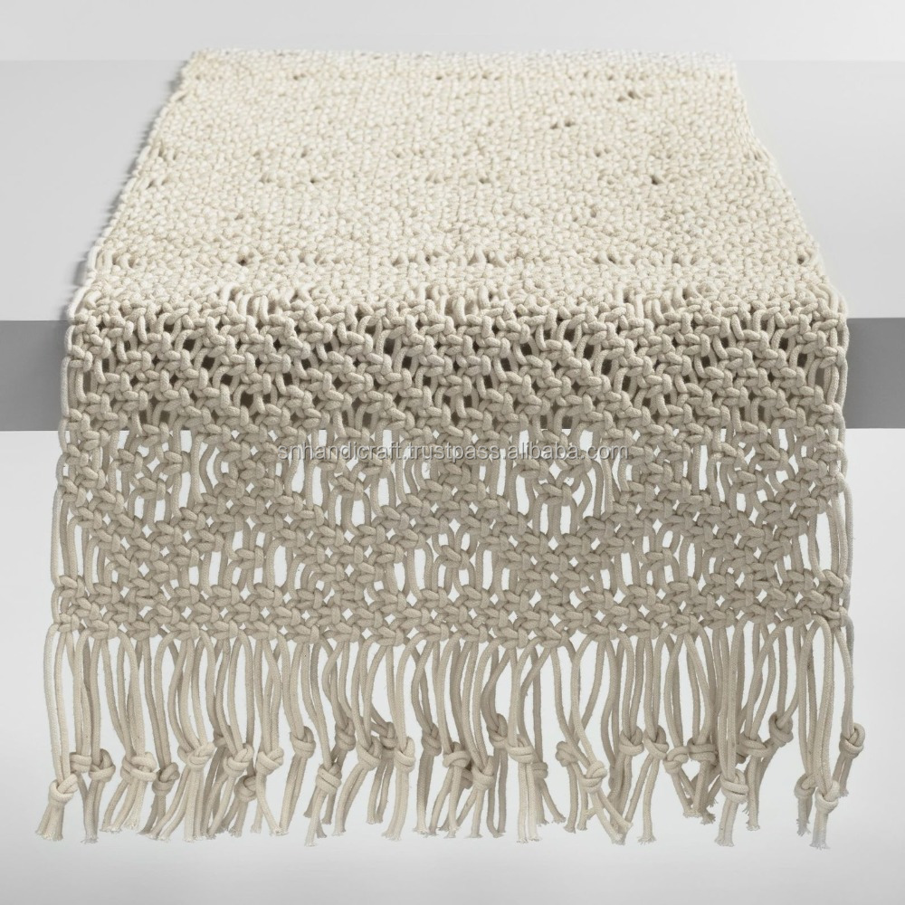 Natural Macrame Table Runner w/Tassels, Thick Hand Knotted 100% Cotton ~ 14 x 72
