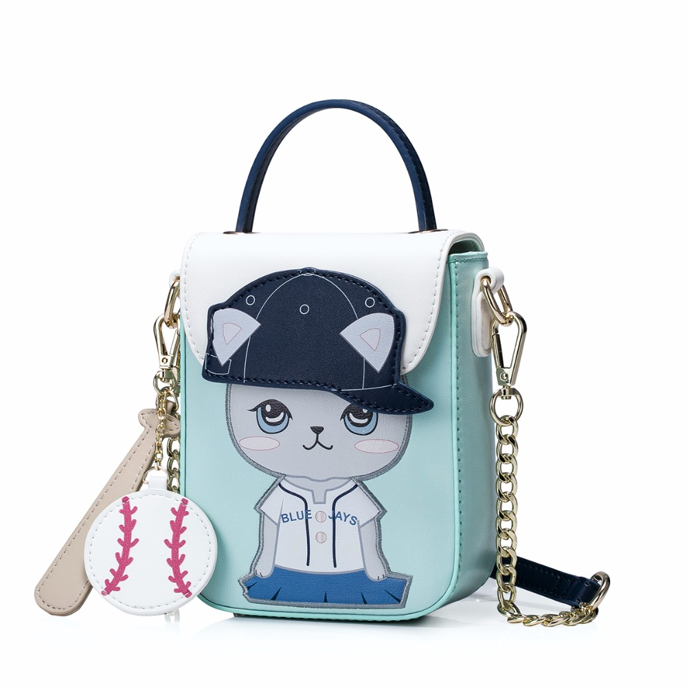 2017 PU leather woman handbags with baseball cat design
