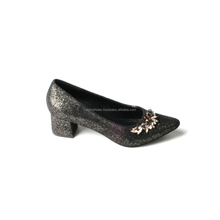 Glittery Women Party Shoes Block Heel with Rhinestones Detailed