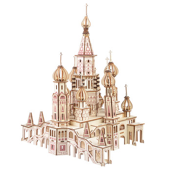Cathedral wooden educational toys learning three-dimensional  kids assembling toys  wooden jigsaw puzzle