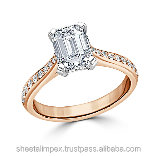 Certified 1.54 Tcw VS2 Clarity 100% Real Natural White Diamonds 18Kt Rose Gold Engagement Ring at Worldwide free Shipping