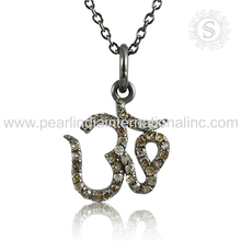 Latest om design polki diamond silver necklace 925 sterling silver jewelry necklace manufacturer