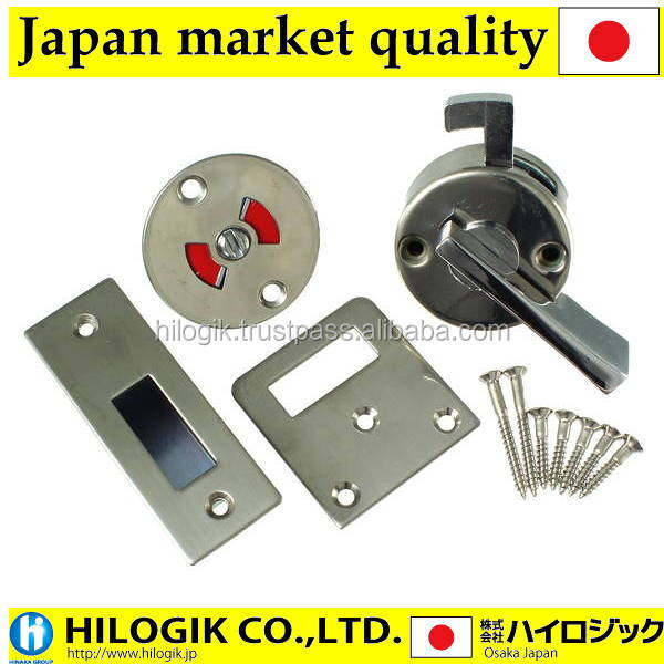 High quality lock For sliding doors WC lock Stainless steel color by Aiwa metal Japanese market products