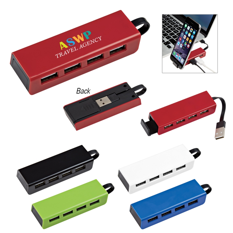 4-Port Traveller USB Hub With Phone Stand - 4 high-speed USB ports, cord attached and stored underneath, slide-out phone stand