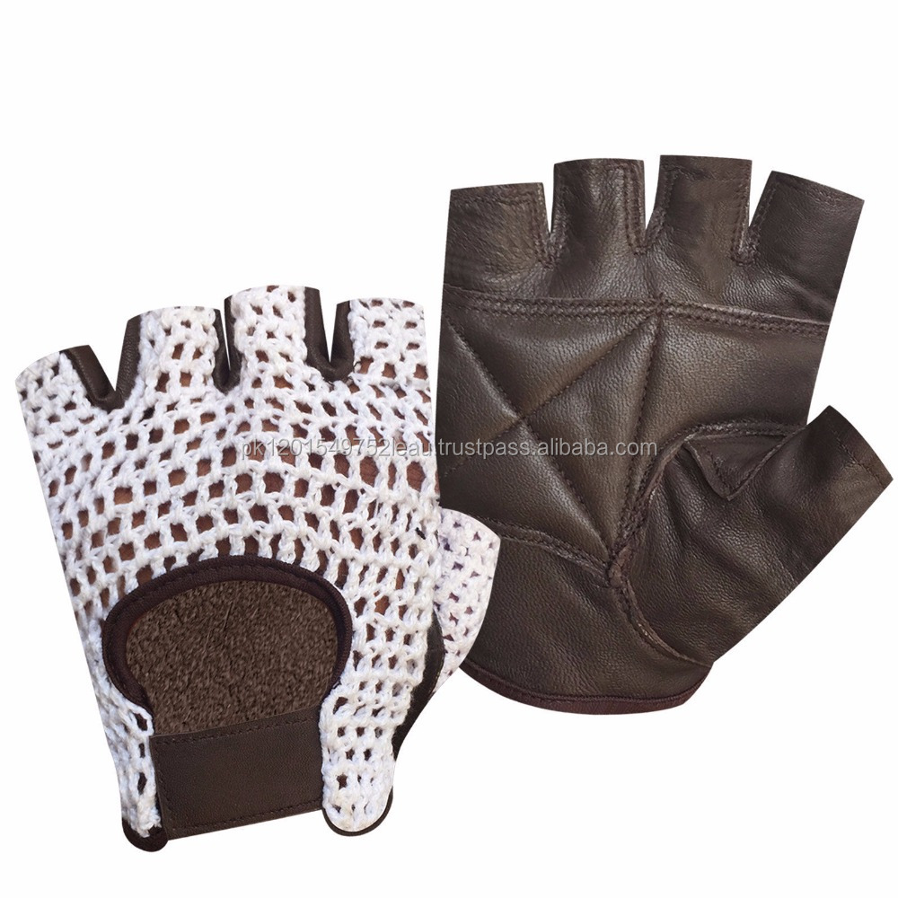 NET LEATHER FINGER LESS GLOVES GYM TRAINING/ BUS DRIVING/ CYCLING BROWN AND WHITE