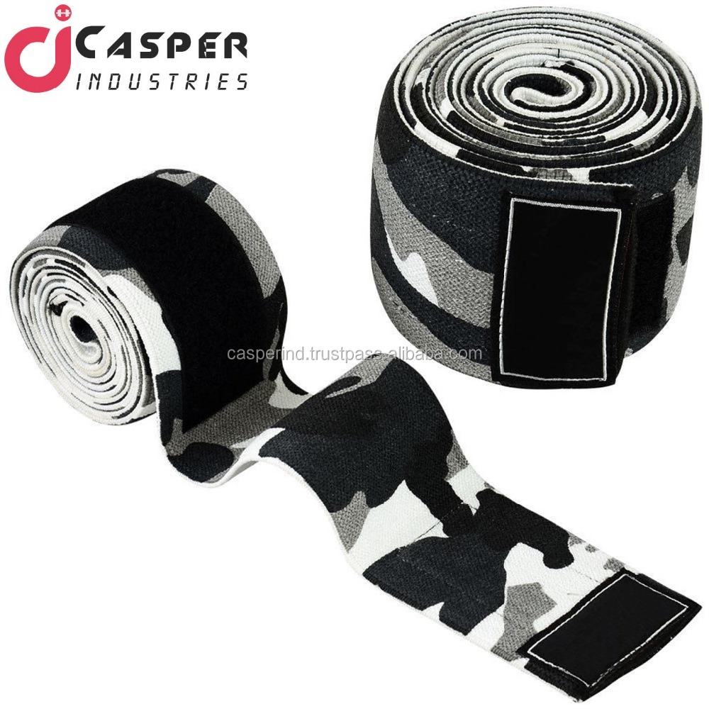 Hot selling Heavy duty Power lifting grey camo knee wraps/Weight Lifting Knee Wraps with logo & Fine Stitching Wraps