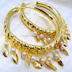 Pearl Beaded Hoop Gold Plated 22kt Chitrai Work Indian Round Women Fashion Earrings