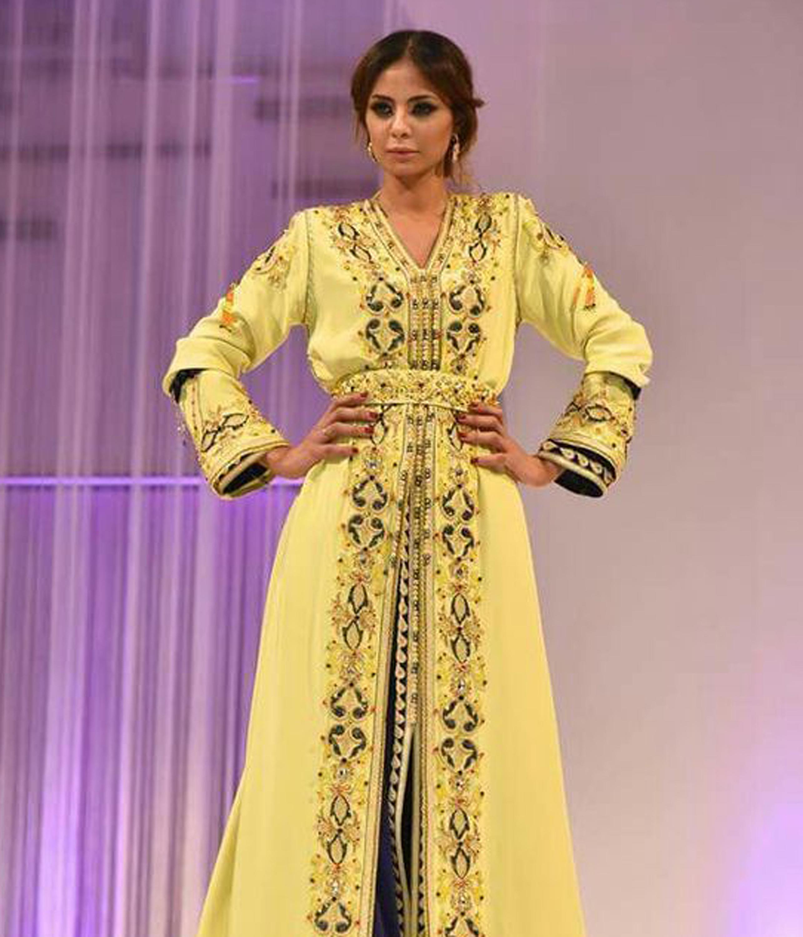 Yellow And Bule Colour With Full Embroidery Moroccan Kaftan Unique Style