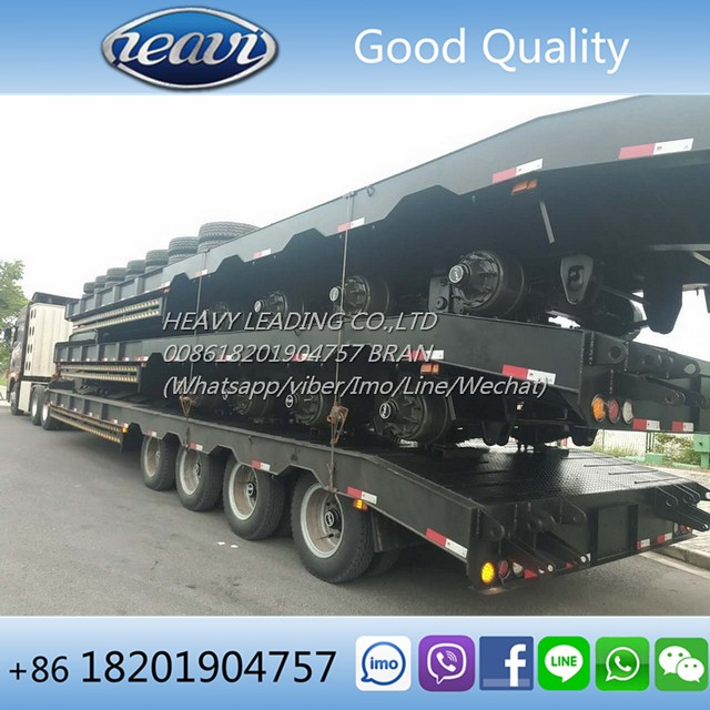 Cheap quality China made new 4 axles 60 ton FUWA low bed trailer for sale