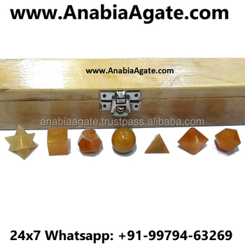Yellow Aventurine 7 Piece Sacred Geometry Set With Wooden Box : Wholesale Platonic Solid Crystal