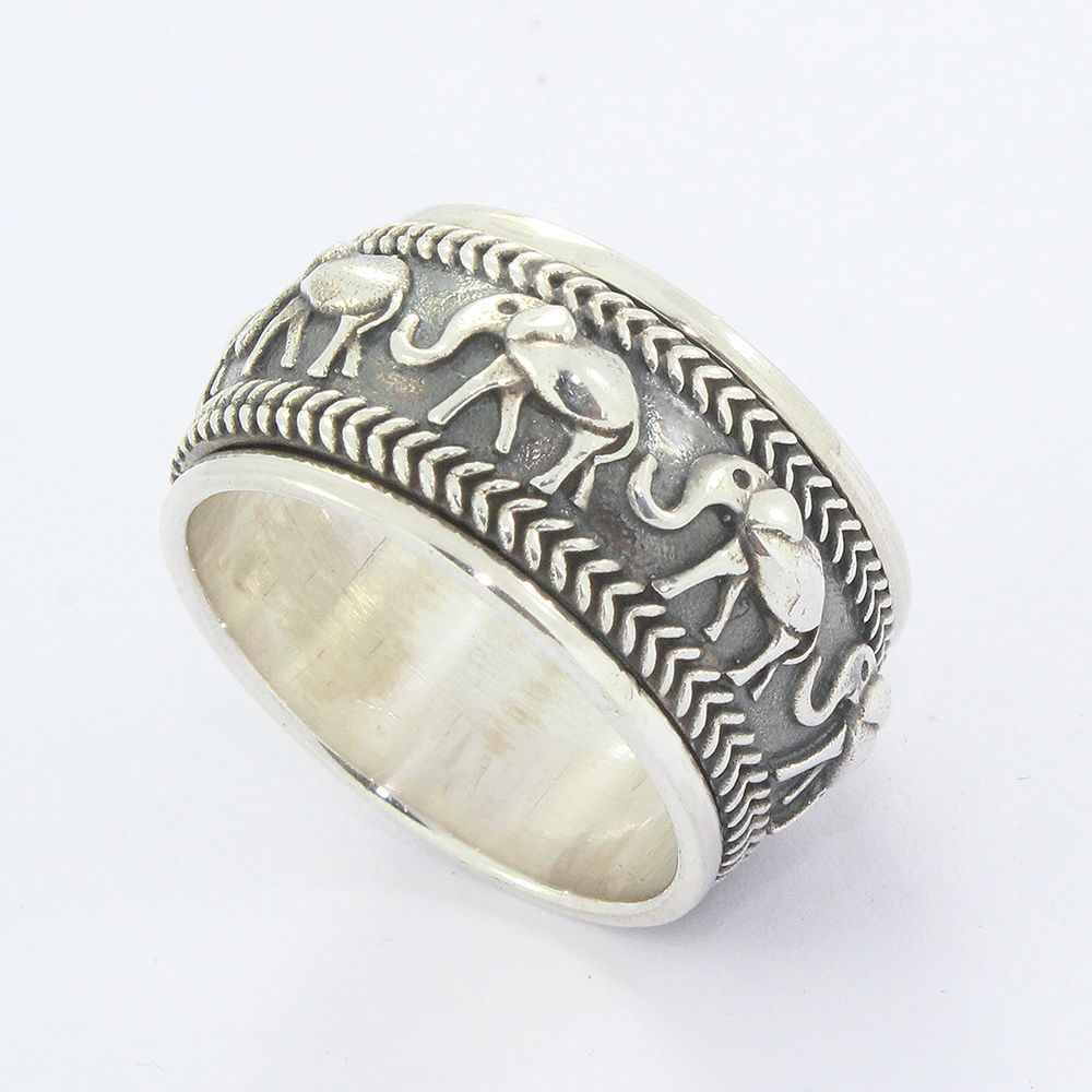 Factory directly wholesale 925 sterling silver elephant finger ring handmade plain silver jewelry ring