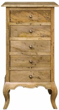 French Colonial Style 5 Drawers Chest of Drawers Tallboy- Honey Brown