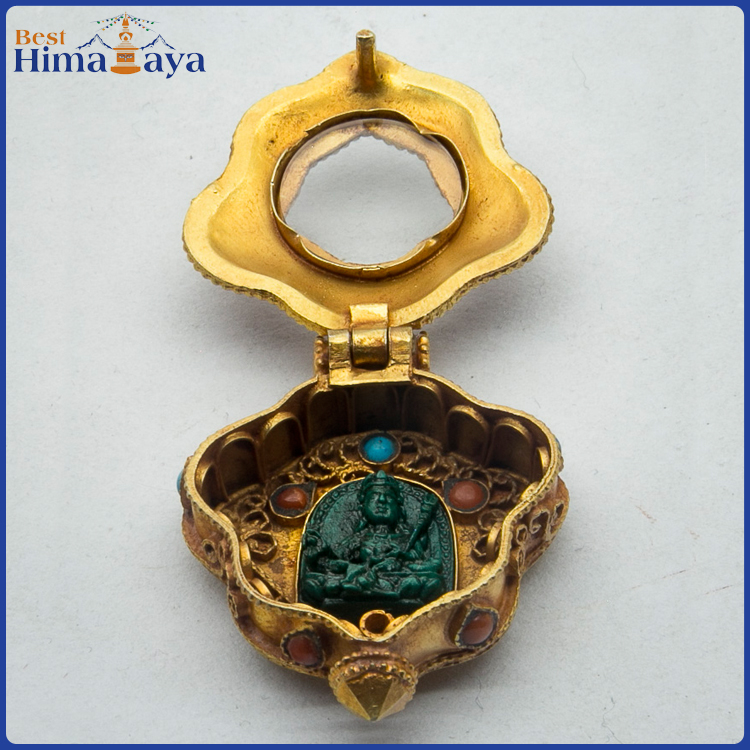 Gold Plated Sterling Silver Ghau Prayer Box Pendant