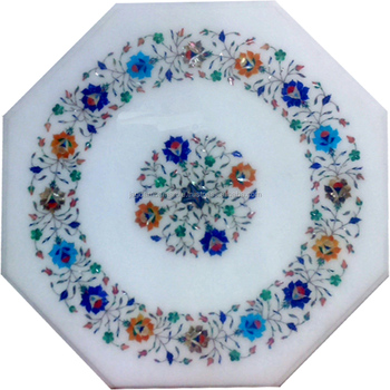 Marble Round Dining Table Top Inlay