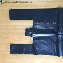 Custom black HDPE Vest handle T-shirt plastic shopping bag on DISCOUNT