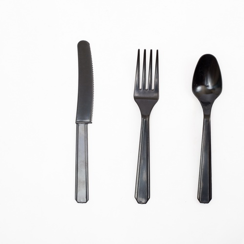 Black color medium weight plastic cutlery sets include fork knife and spoon for take-out food