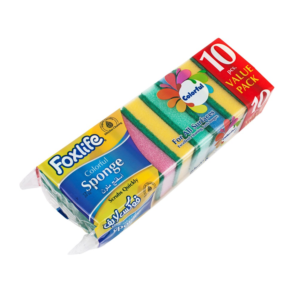 Foxlife High quality PU super absorbent dish washing colorful Classic Sponge with cleaning abrasive scouring - 10 pcs value pack