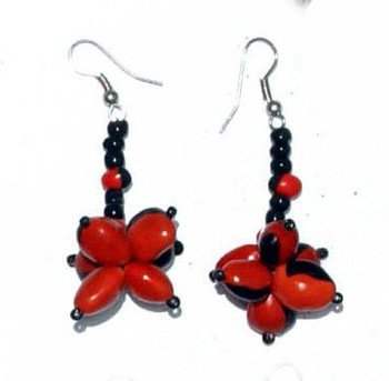 Red Seed Beaded Earrings Unusual Huayruro Jewelry Peruvian Handmade Natural Products Sale