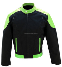 Girls Sports Racing Protective Gear Black & Green Textile Motorbike Jacket