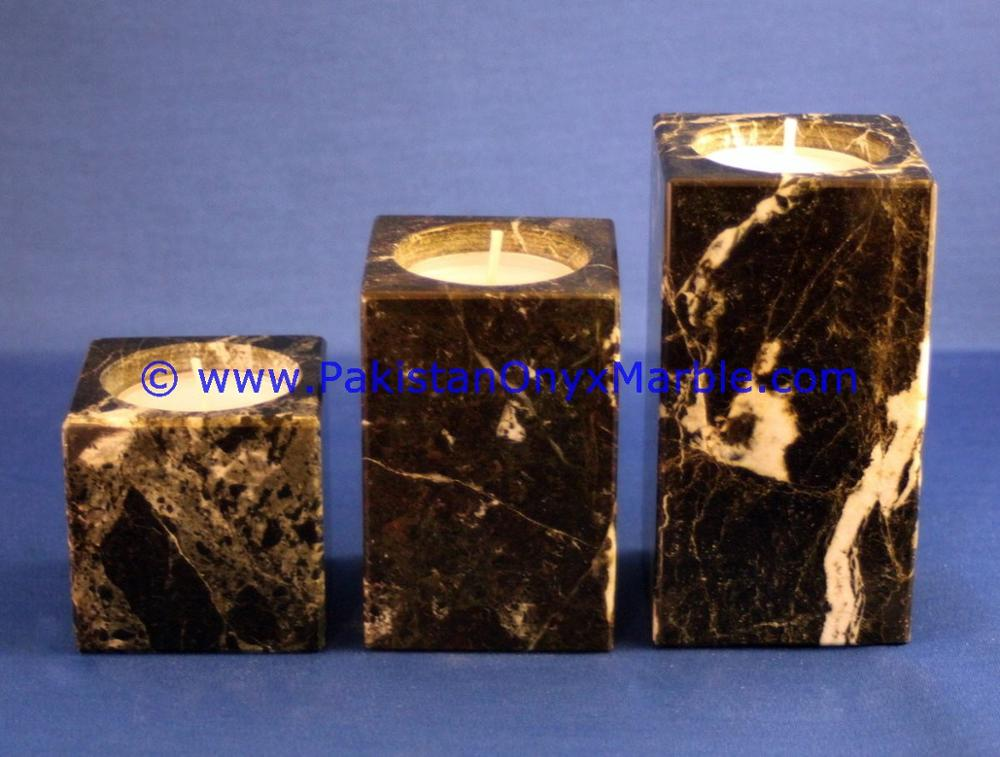 DECORATIVE MARBLE CANDLE HOLDERS SQUARE CUBE SHAPED STANDS