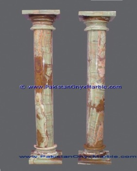 POLISHED LIGHT GREEN ONYX COLUMNS PILLARS CARVED TOP