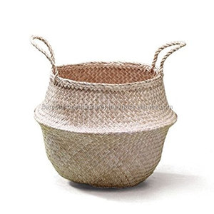 Natural Seagrass Belly Basket Panier Boule Storage Large