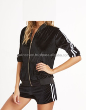 Black Velvet Striped Side Zip Top Set custom Jogging Suit Tracksuit Sports Sweat Suit french terry fleece velvet/velour suits