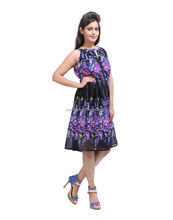 Stylish Floral Printed Violet And Black Faux Georgette Knee Dress