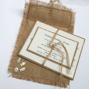Burlap Handmade Invitation