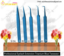Eyelash Extension Tweezer Eyelash/ Tweezers Blue Titanium Coating Eyelash Tweezers From Stylish Beauty Industry