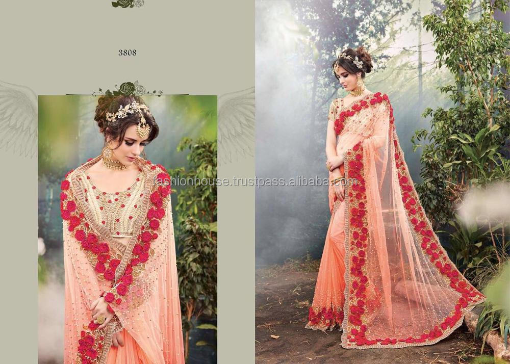 Net Stone Work Saree and Hand Embroidery