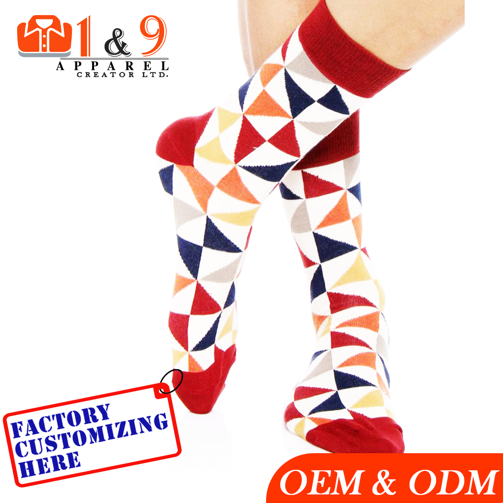 Mid Calf geometric block stance Socks red blue Colored Bangladesh