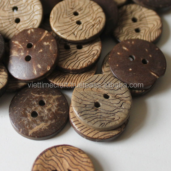 Round coconut button/ coconut shell button, handmade and fashionable