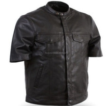 First Manufacturing Mens Half Sleeve Leather Motorcycle Shirt FC-8353