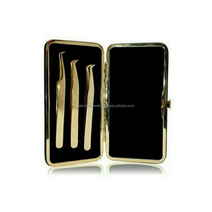 Russian Volume lash extension Tweezer,Russian volume tweezer kit Gold plated with magnetic case