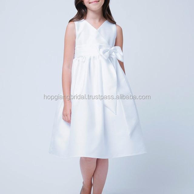 Luxury Silk Fabric White Flower Girl Dress Sleeveless Dress Full Size