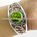 Green copper turquoise gemstone bangle 925 sterling silver jewelry bangles wholesaler