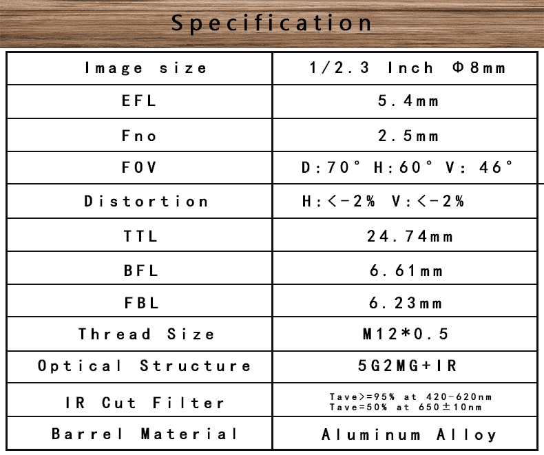 "1/2.3"" EFL 5.4mm FOV70D 7G M12 Low distortion lens with IR filter"