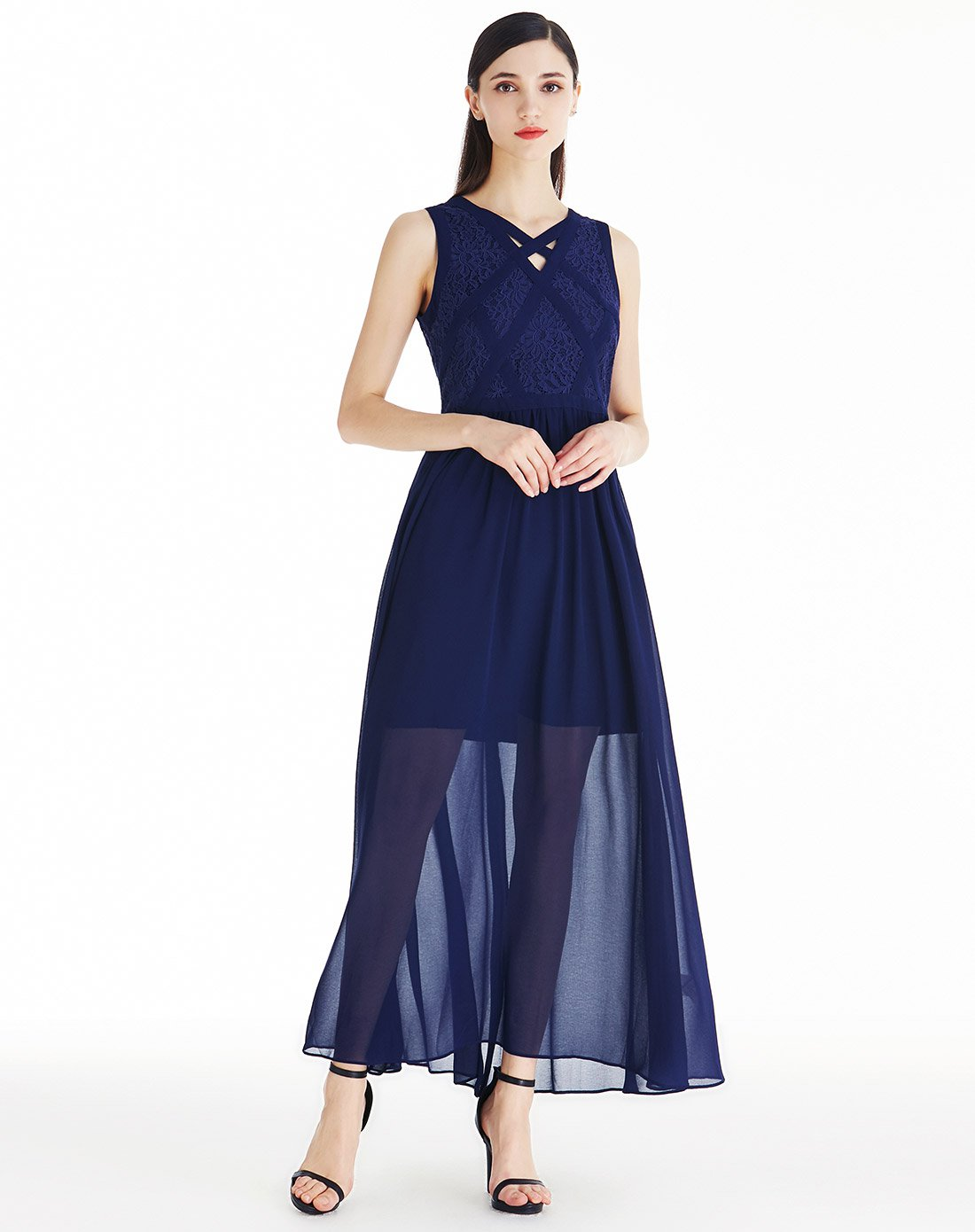 Wholesale factory sleeveless women long maxi tulle evening party dresses