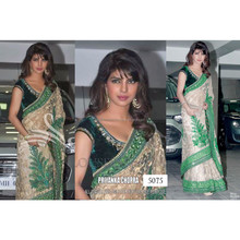 Indian ethnic designer green color saree