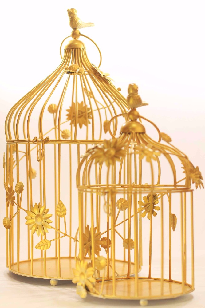 golden bird cage with floral vine set of 2