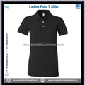 Black Ladies Short Sleeve Polo T shirts with Buttons