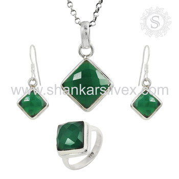 Fantabulous green onyx jewelry set handmade 925 sterling silver jewelry wholesalers