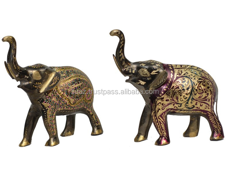 Brass Hand Crafted Elephant, Colored brass showpiece hand made home decorative products, Handmade Brass Handcrafted Elephant